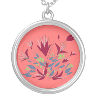 Magenta Flowers ,on deep pink. Round Pendant Necklace