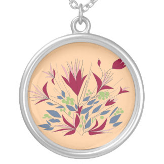 Magenta Flowers  pink background Round Pendant Necklace