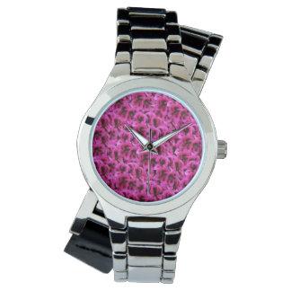 Magenta Geranium Flower  Ladies Silver Wrap Watch. Watch