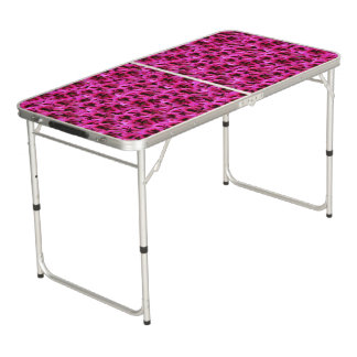 Magenta Geranium Flowers, Folding Aluminum Table. Beer Pong Table