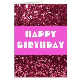 Magenta Glitter Happy Birthday Card