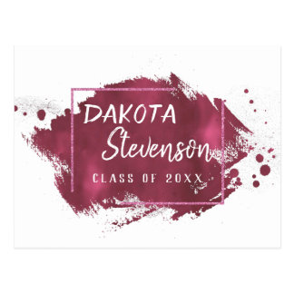 Magenta Graduation | Pink Splatter Grad Party Postcard