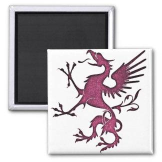 Magenta Griffon (Eagle Lion) Square Magnet