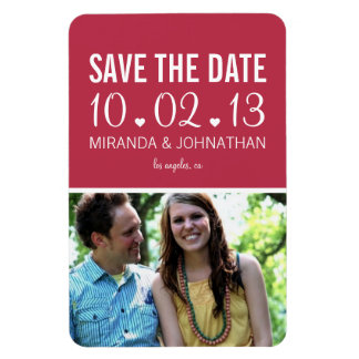 Magenta Hearts Design Photo Save The Date Magnet