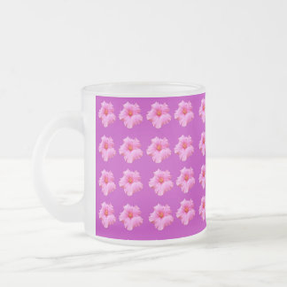 Magenta Hibiscus Kisses, Frosted Glass  Mug. Frosted Glass Coffee Mug