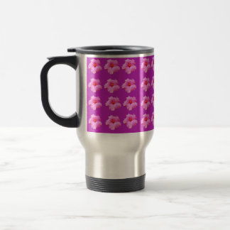 Magenta Hibiscus Kisses, Travel Coffee Mug. Travel Mug