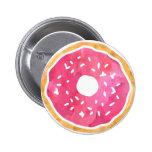 Magenta Hot Pink Doughnut Button