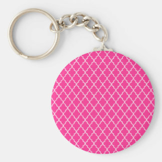 Magenta. Hot Pink. Fuchsia And White Moroccan Key Ring