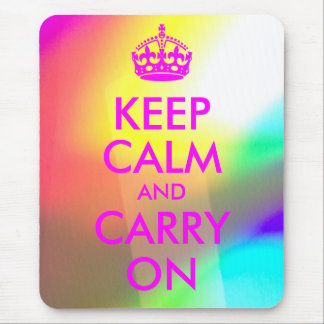 Magenta Keep Calm and Carry On Mousepad