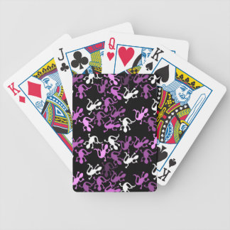 Magenta lizards pattern poker deck
