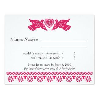 Magenta Love Birds Papel Picado Banner RSVP\ Card