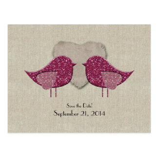 Magenta Lovebirds Linen Look Save the Date Postcard