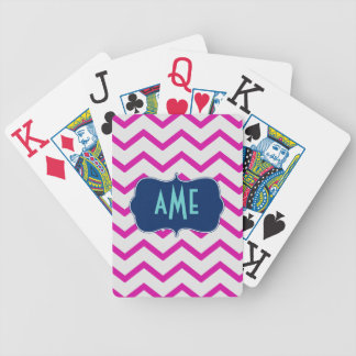 Magenta Mint Chevron Bicycle Playing Cards