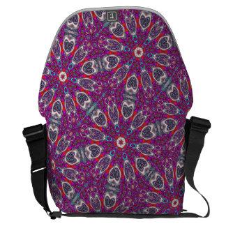 Magenta Moth Kaleidoscope Messenger Bag