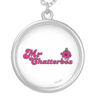 Magenta Mr. Chatterbox Logo Round Pendant Necklace