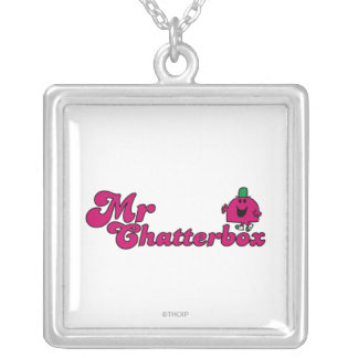 Magenta Mr. Chatterbox Logo Square Pendant Necklace