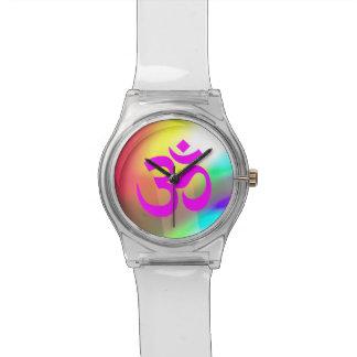 Magenta Om Symbol Wrist Watch