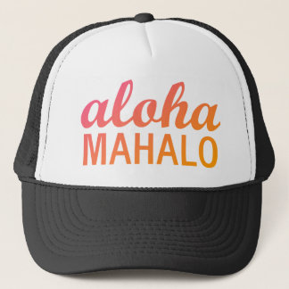 Magenta Orange Gradient Aloha Mahalo Typography Trucker Hat