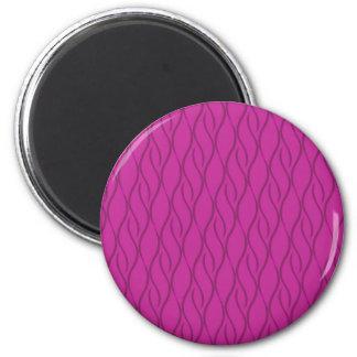 Magenta pattern 6 cm round magnet