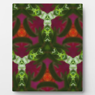 Magenta Peach Green Kaleidoscope Pattern Display Plaques