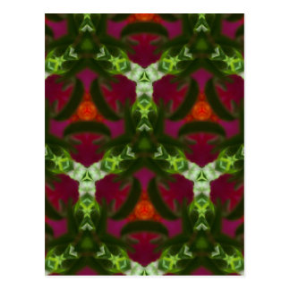 Magenta Peach Green Kaleidoscope Pattern Postcard
