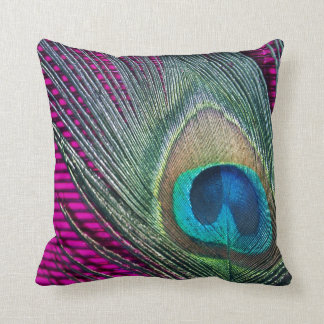 Magenta Peacock with Lines Cushion