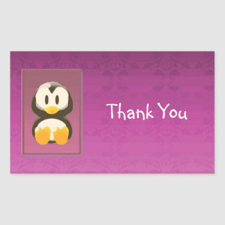 Magenta Penguin Thank You Sticker