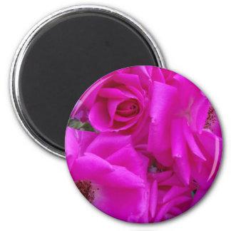 Magenta petals III 6 Cm Round Magnet