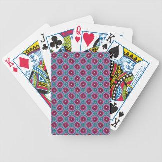 Magenta, Pink and Green Flower Pattern Poker Deck