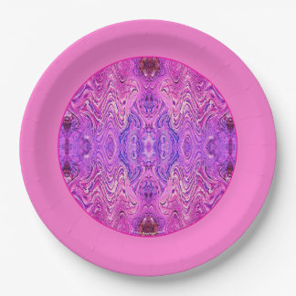 Magenta Pink and Purple Abstract 9 Inch Paper Plate