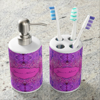 Magenta Pink and Purple Abstract Bath Set