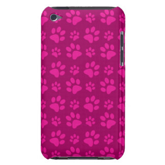 Magenta pink dog paw prints iPod touch cases