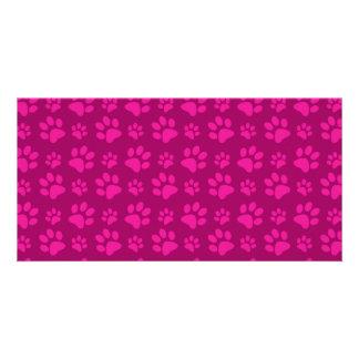 Magenta pink dog paw prints pattern customized photo card