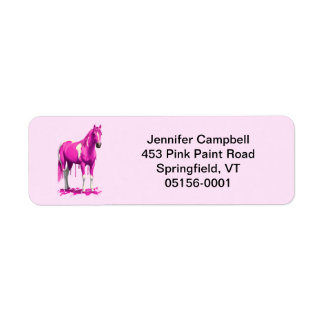 Magenta Pink Dripping Wet Paint Horse Return Address Label