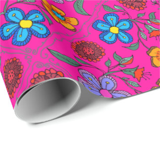 Magenta Pink Floral Art Pattern Wrapping Paper