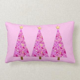 Magenta pink floral modern Christmas trees Lumbar Pillow