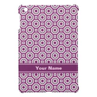 Magenta-Pink-Gray Nested Octagon iPad Case