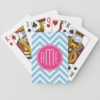 Magenta Pink Monogram with Light Blue Chevron Poker Deck