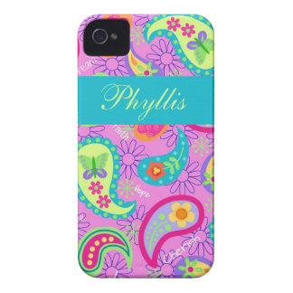 Magenta Pink Turquoise Modern Paisley Pattern Case-Mate iPhone 4 Cases