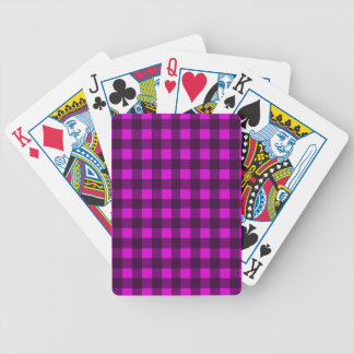 Magenta plaid pattern bicycle playing cards