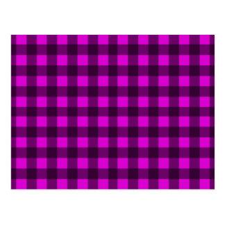 Magenta plaid pattern postcard