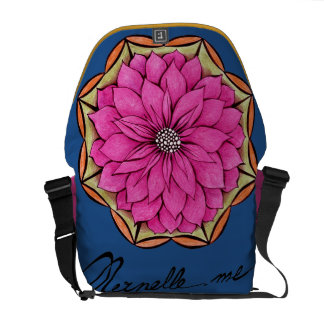 MAGENTA POINSETTIA Design Messenger Bags