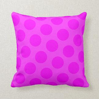 Magenta Polka Dot Throw Pillow