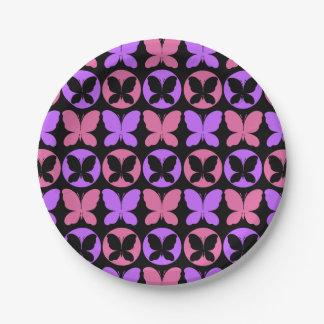 Magenta Purple Black Butterflies Butterfly Pattern Paper Plate