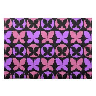 Magenta Purple Black Butterflies Butterfly Pattern Placemat