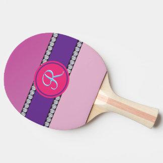 Magenta Purple Pink Mauve Girly Monogram Initial Ping Pong Paddle
