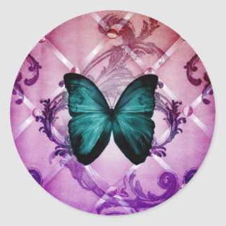 Magenta Purple Swirls Bohemian Teal Butterfly Classic Round Sticker