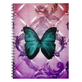 Magenta Purple Swirls Bohemian Teal Butterfly Notebook