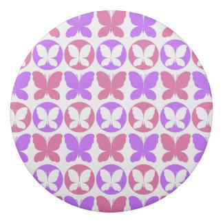 Magenta Purple White Butterflies Butterfly Pattern Eraser