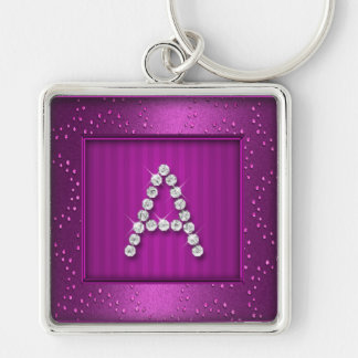 Magenta Shimmer and Sparkle with Monogram Keychains